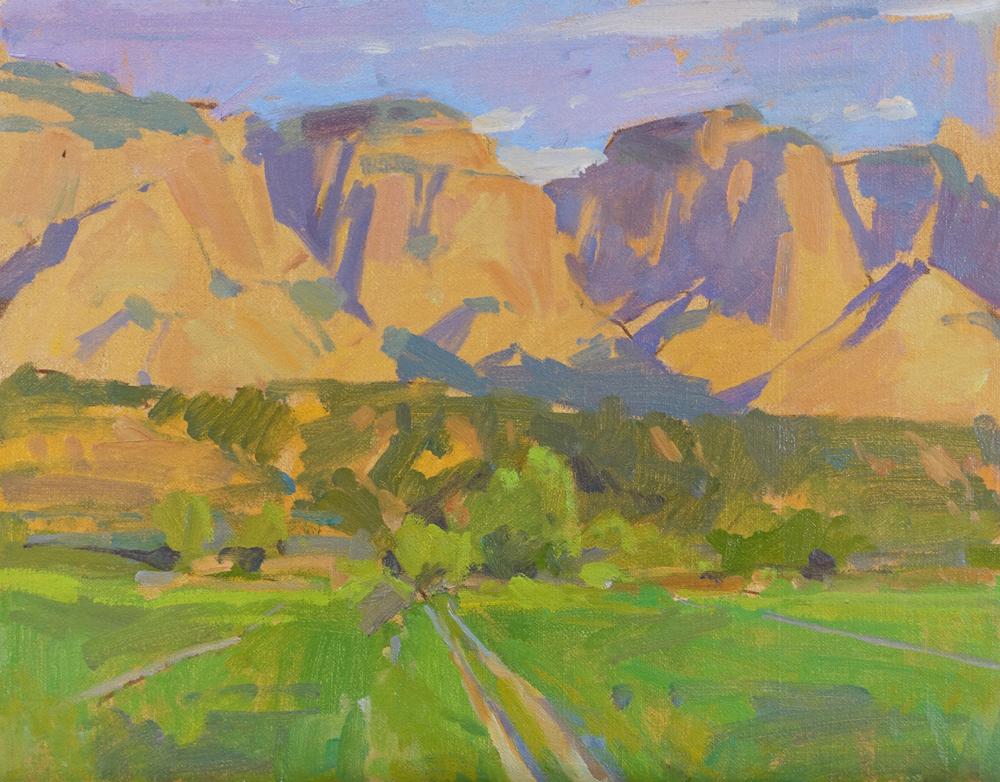 """Utah Sunset  Mt. Carmel, Utah  Available through the artist's studio  11x14"""" oil on panel $1250"""
