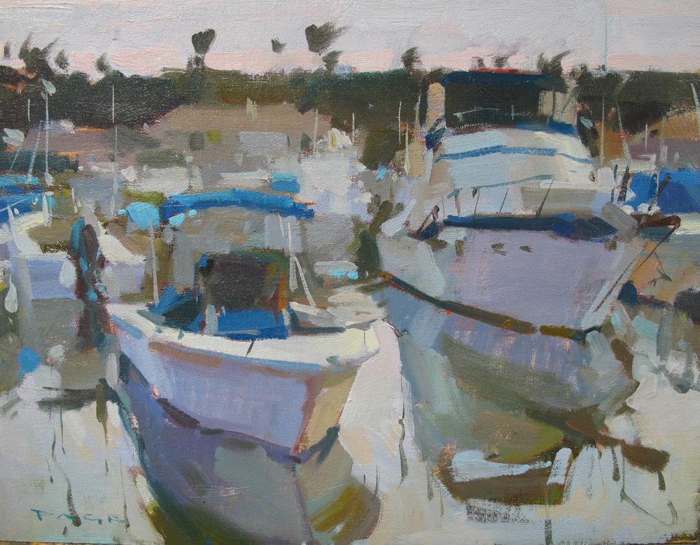 "Overcast Harbor  Balboa Island, CA  Available at Debra Huse Gallery, CA  12x16"" oil on panel $1500"