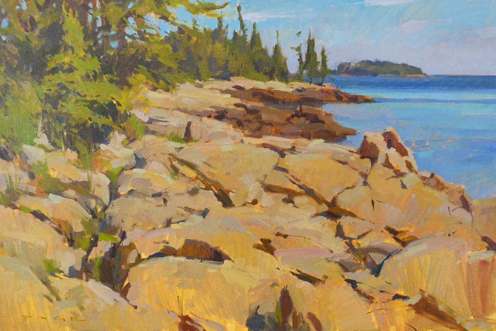 """Marshall Point Coast  24x36"""" oil on canvas $5500  On display at Dowling Walsh Gallery"""