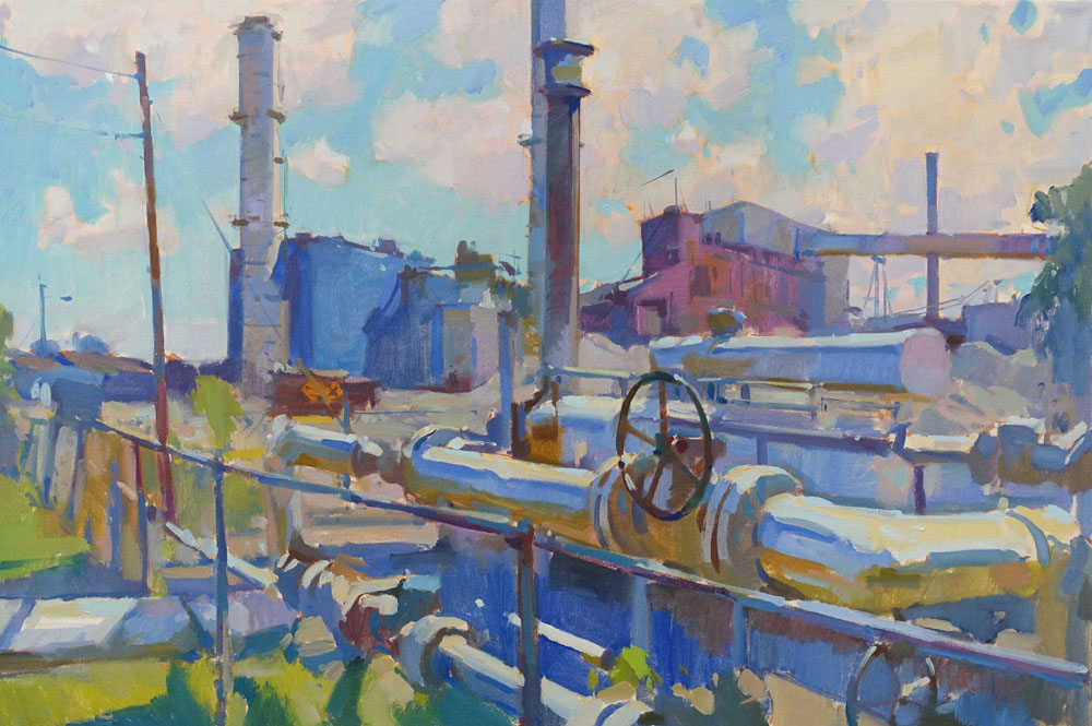"Bucksport Paper Mill  24x36"" oil on canvas"
