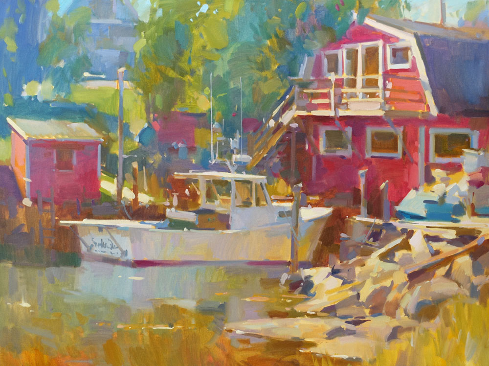 """Snug Harbor  30x40"""" oil on canvas $8500  on display at Courthouse Fine Art Gallery"""