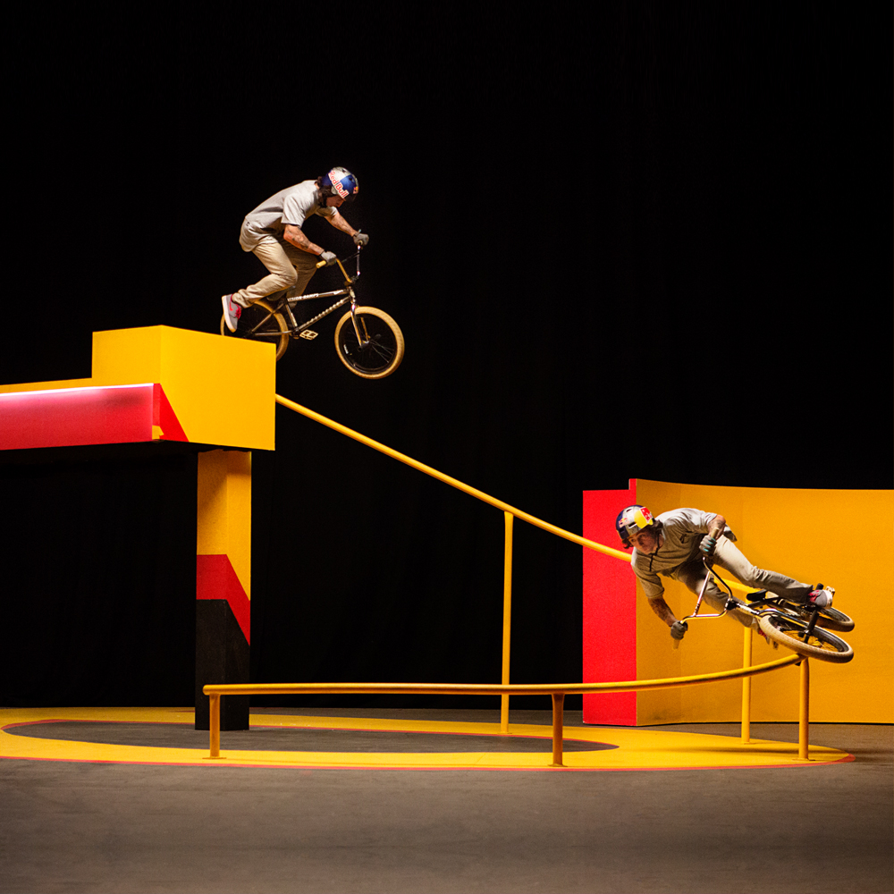 Optical illusion BMX film set production