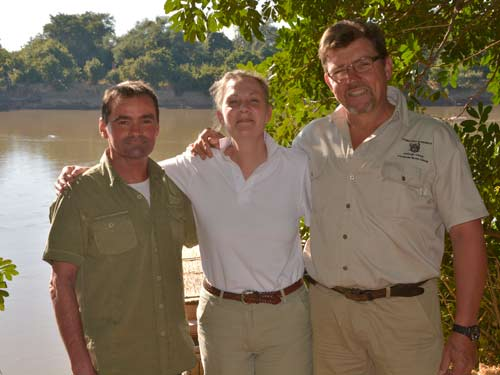 With Garth and Liz at Kaingo, a beautiful camp