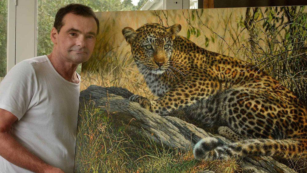 "My ""FLICK OF THE TAIL"" painting.  A very memorable moment in the Maasai Mara"
