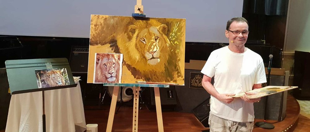 My live painting demonstration in the Queen's Room in front of 200 guests.