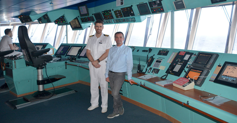 With First Officer Matthew Nicolls on the ship's bridge