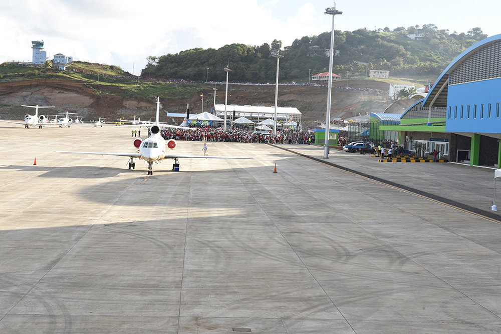 Hundreds of Vincentians turned up at the new airport to welcome the inaugural flights
