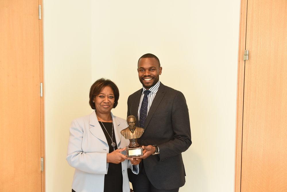 Philip Graham presented the Lincoln Alexander Memorial Award to Arleen Huggins