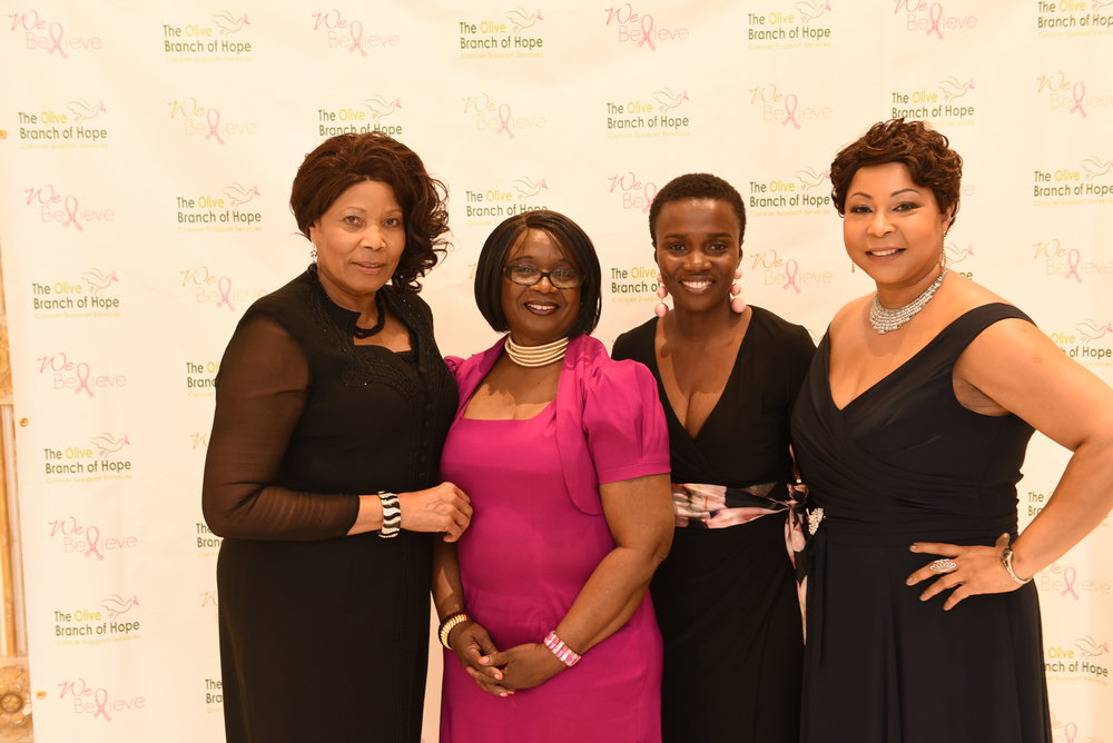 Winsome Johnson (l), Leila Springer, keynote speaker Dr. Evelyn Jiagge and new OBOH president Andrea Moncrieffe