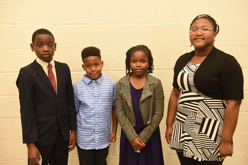 Elementary school awardees Idine Mbong (l), Gabrielle Williams, Josiah Walker & Olalou Oduwole