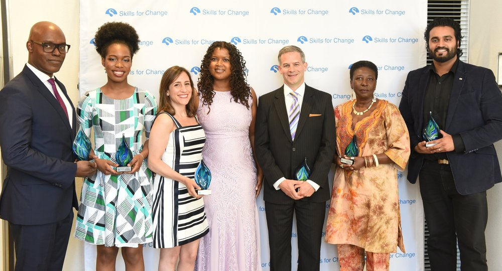 Skills for Change chief executive officer Surranna Sandy (c) flanked by Pioneers for Change winners Cameron Bailey (l), Lily Akagbosu, Leen Al Zaibak, Justice Alan Diner, Debbie Douglas & Shaji Nada