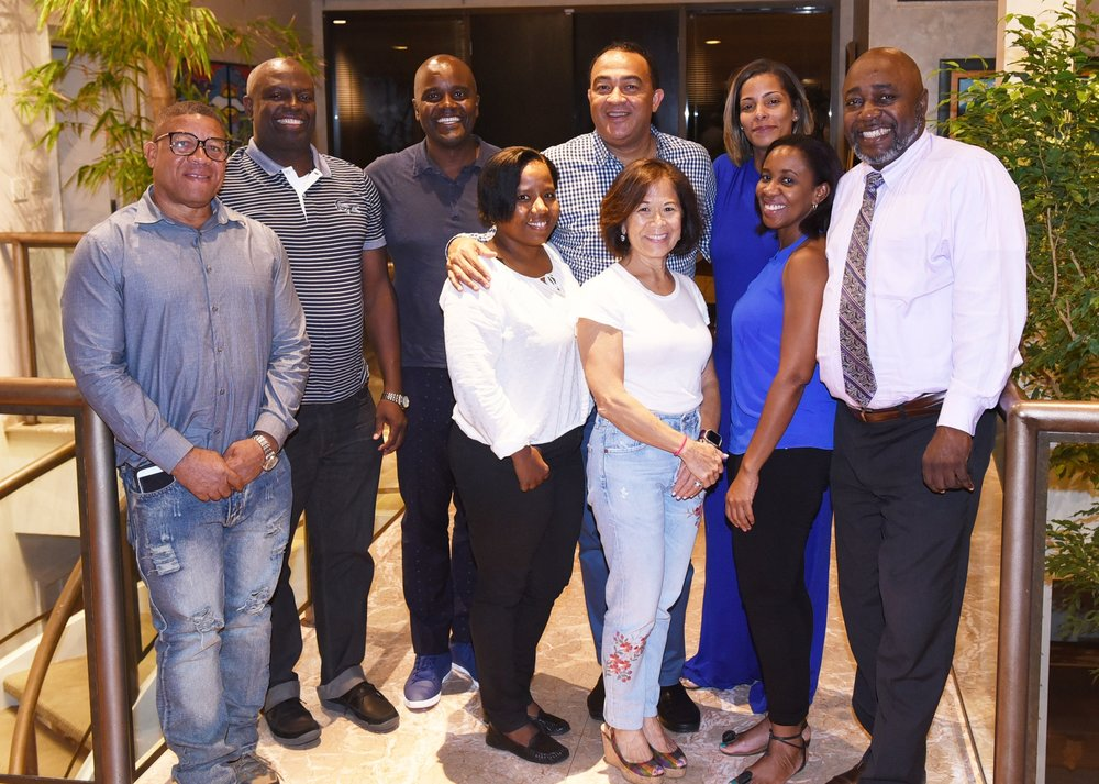 Peter Bogle (l), Brian James, Wes Hall, Kiesha Walker, Dr. Chris Tufton, Donette Chin-Loy Chang, Lyndsey McDonnough, Dr. Marsha James and Jamaica's consul general Lloyd Wilks