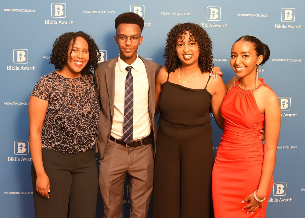 Sarah Edo (l), Yonas Nigussie, Wudassie Tamrat & Dagmawit Aberham were honoured for academic brilliance