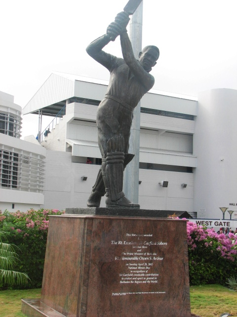 Sir Garfield Sobers statue outside Kensington Oval in Barbados