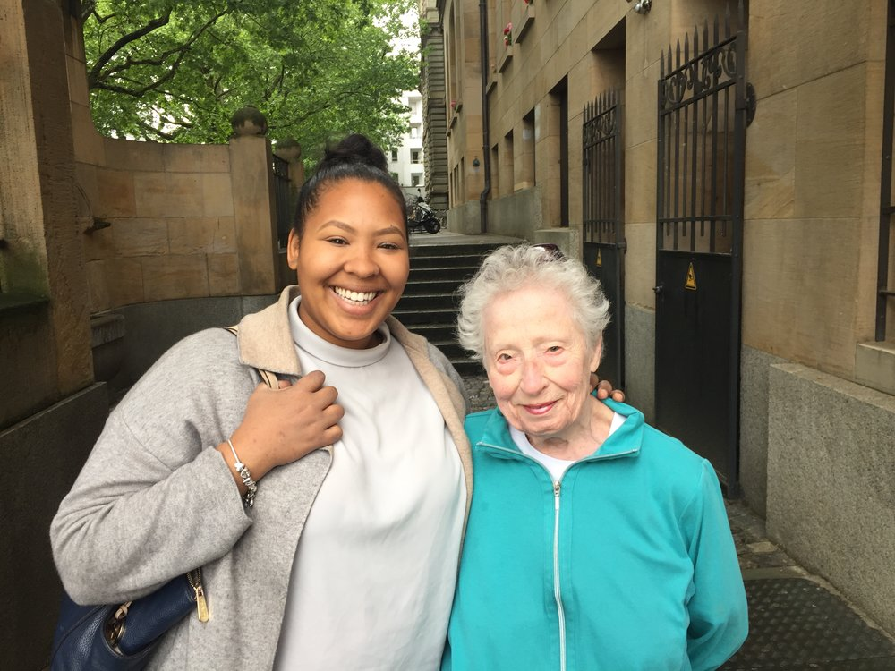 Donna Hill and her grand-daughter Malaika Hill in Basel, Switzerland in May 2018 (Photo courtesy of Lawrence Hill)