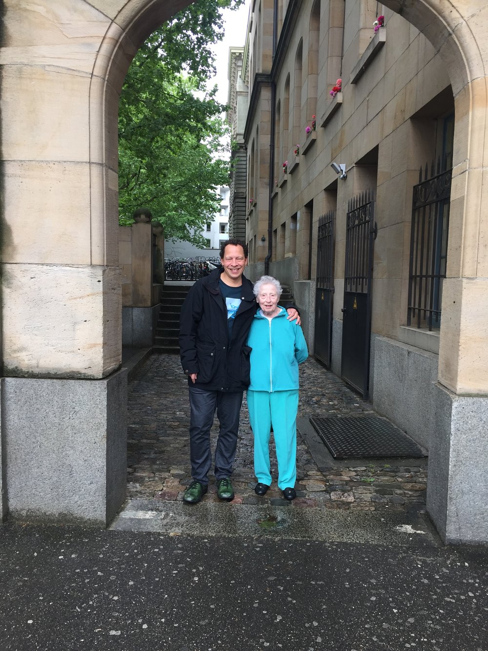 Donna Hill and her son Lawrence Hill in Basel, Switzerland in May 2018 (Photo courtesy of Lawrence Hill)