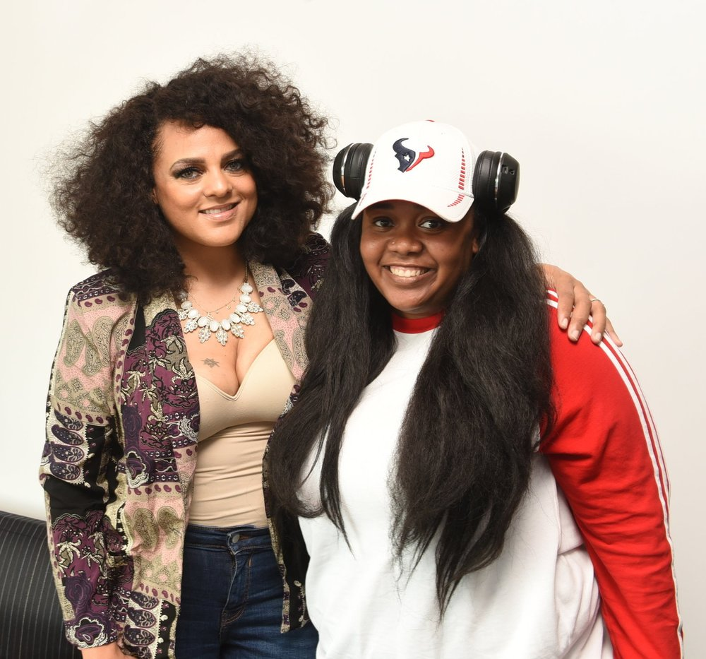 Marsha Ambrosius (l) with Canadian hip hop performer and educator Keysha Freshh