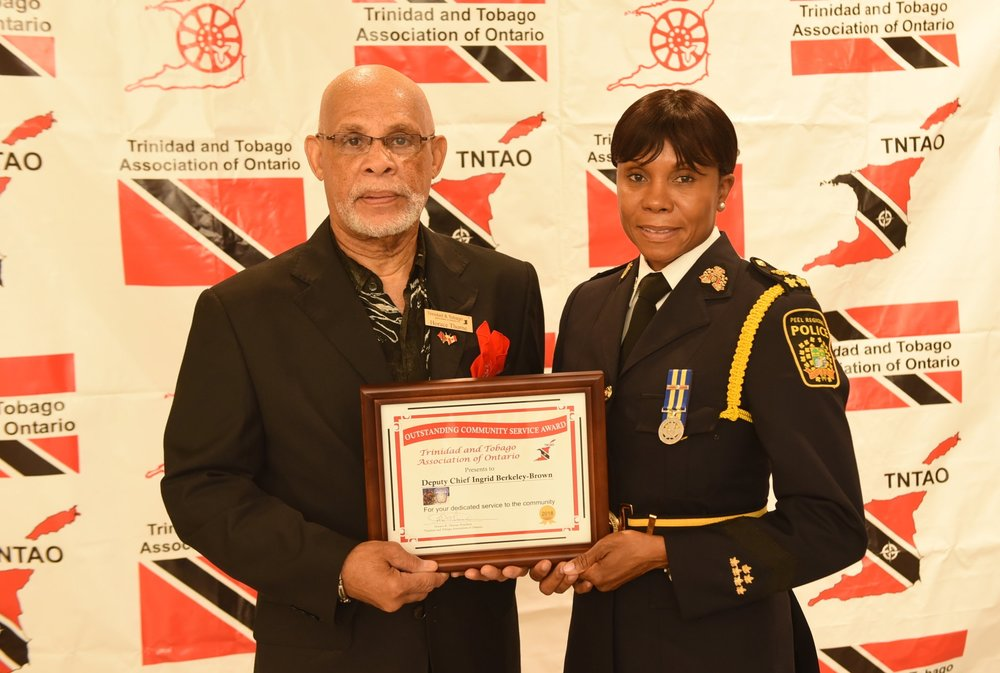 TTAO president Horace Thorne presented a Community Award to Peel Regional Police deputy chief Ingrid Berkeley-Brown