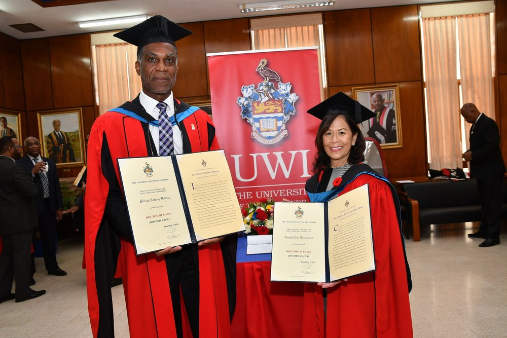 Donette Chin-Loy Chang shared the spotlight with former West Indies cricketer Michael Holding