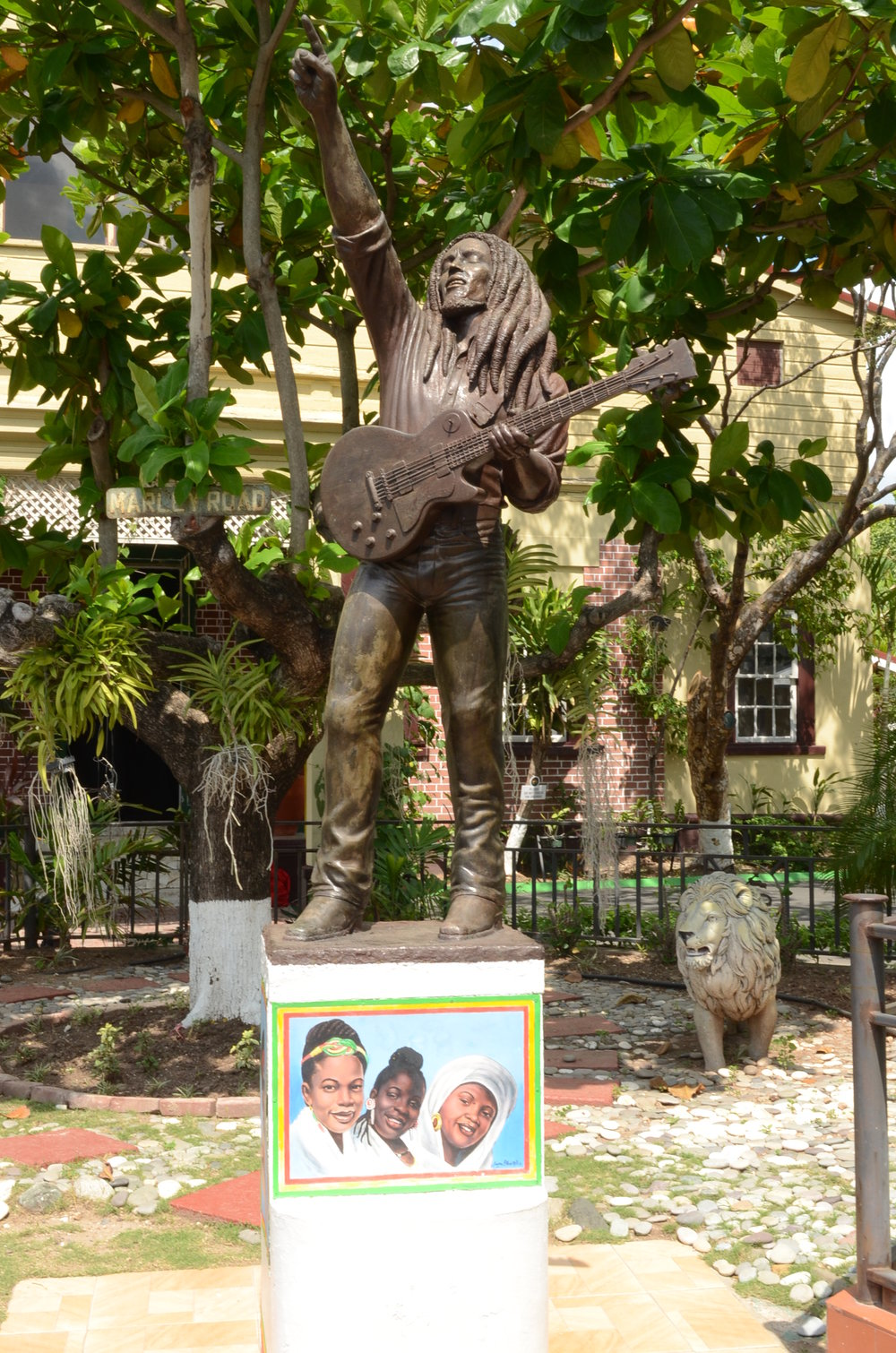 The statue of Bob Marley outside his home that was converted to a museum
