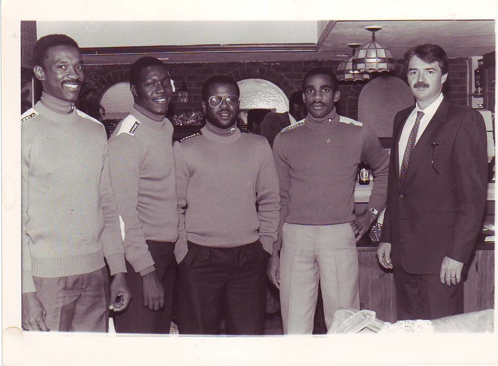 Jamaica's first bobsled team members Dudley Stokes (l), Devon Harris, Michael White and Samuel Clayton and with co-founder George Fitch