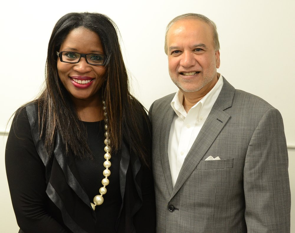 Claudette McGowan and Roger Mahabir, the chair and CEO of Tracker Networks Inc.
