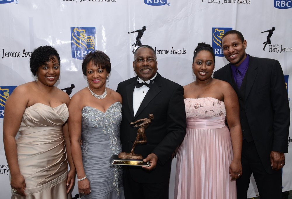 Harry Jerome Lifetime Achievement Award 2014 recipient Greg Regis with his wife Althea, their two daughters and son-in-law