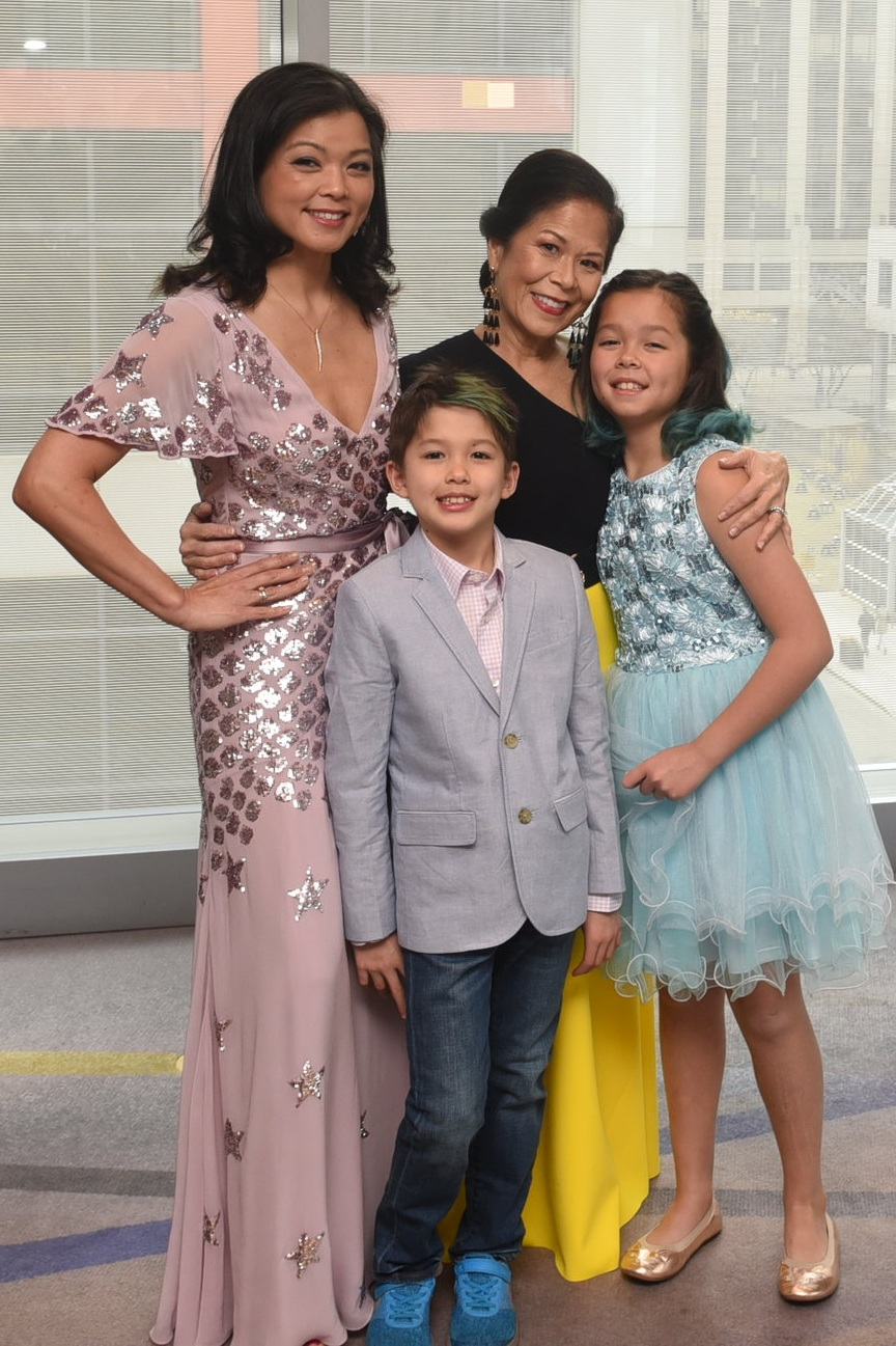 Co-patrons Donette Chin-Loy Chang and Brigitte Chang-Addorisio with her children Lucas and Savanna