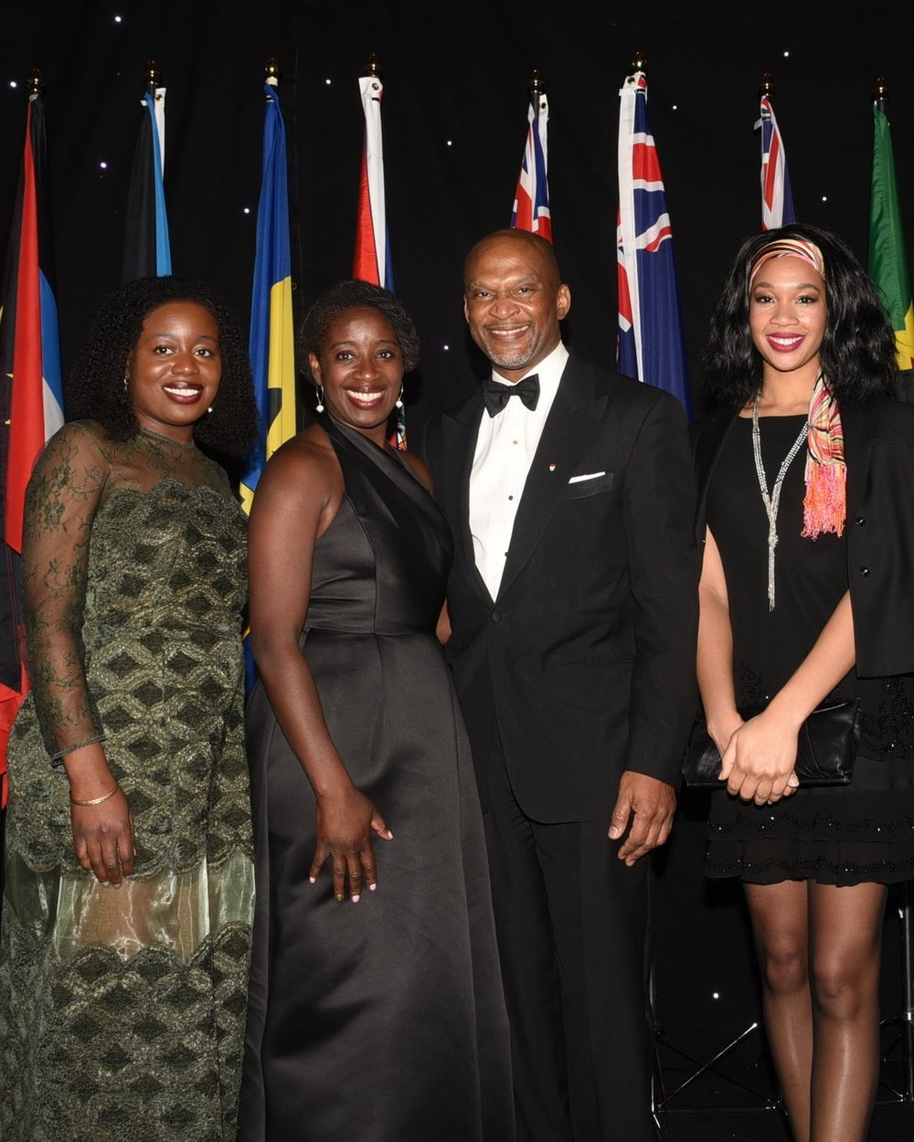 Dr. Lancelot Brown with his daughter Rebecca Brown (r) and sisters Hermia and Erya Abraham (l)