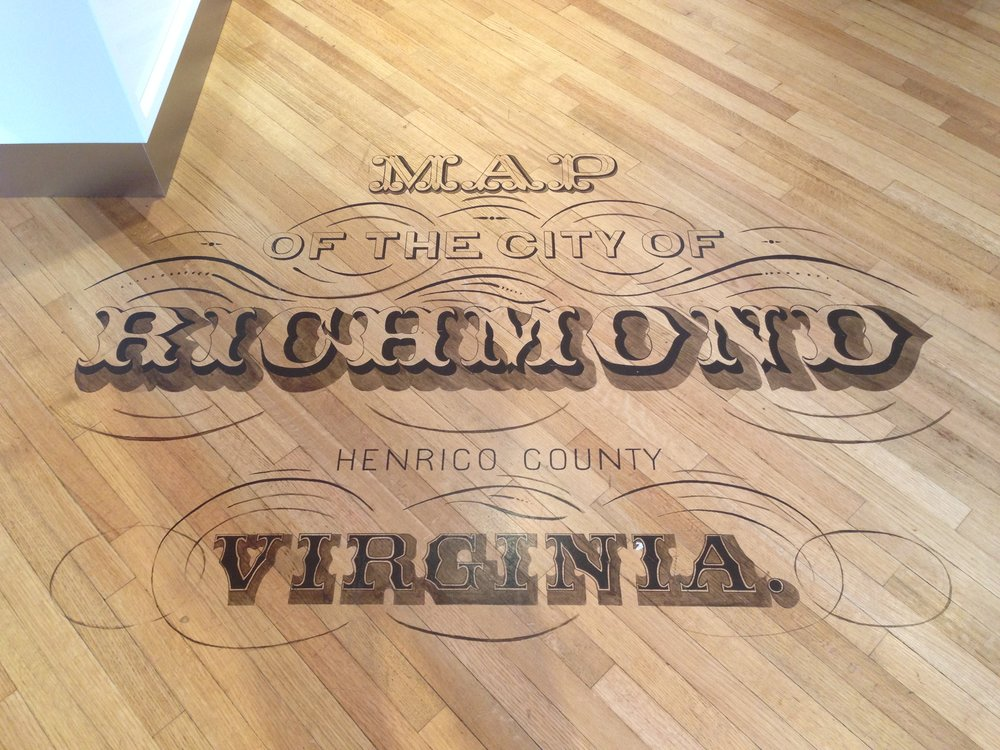 The first thing you see when you walk in: a map of Richmond on the floor. (Photo by me!)