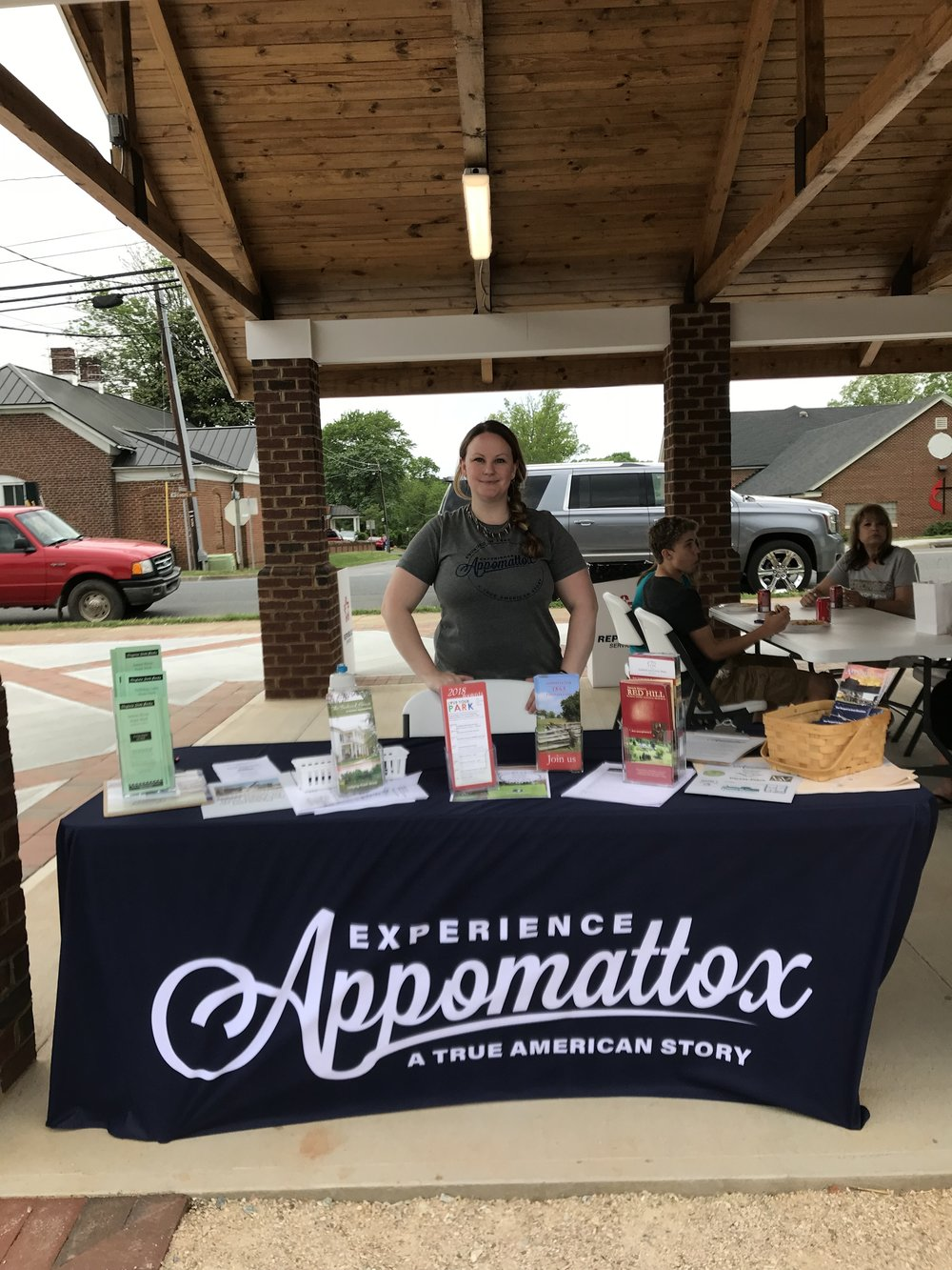 Our table at the Appomattox Vintage and Artisans Marketvin Courtland Festival Park