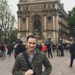 Me in Paris at one of my favorite spots, Fontaine Saint-Michel, on our honeymoon in 2015.