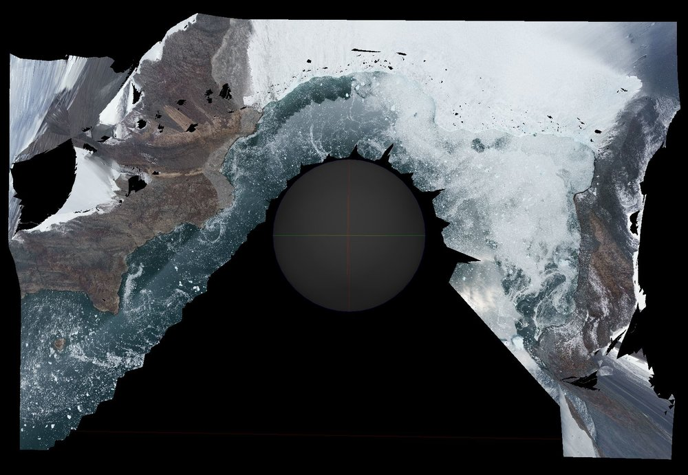 Photogrammetry - In one of the scenes, the user stands over arial photogrammetry of a glacier.