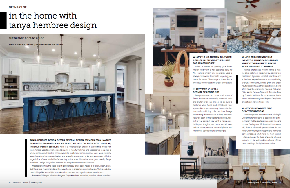 Tanya hembree design, along with our recent green hills project,was featured in the february edition of brentwood lifestyle magazine.  Click here  for the full article.