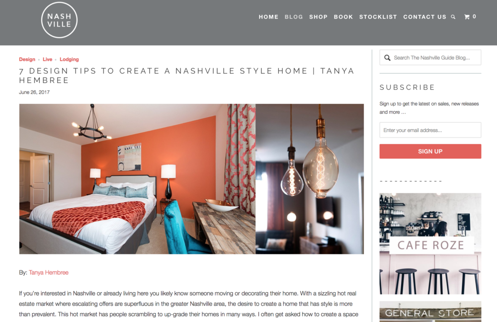 Tanya Hembree Design was featured in the Nashville guide.  Click here  for the full article.