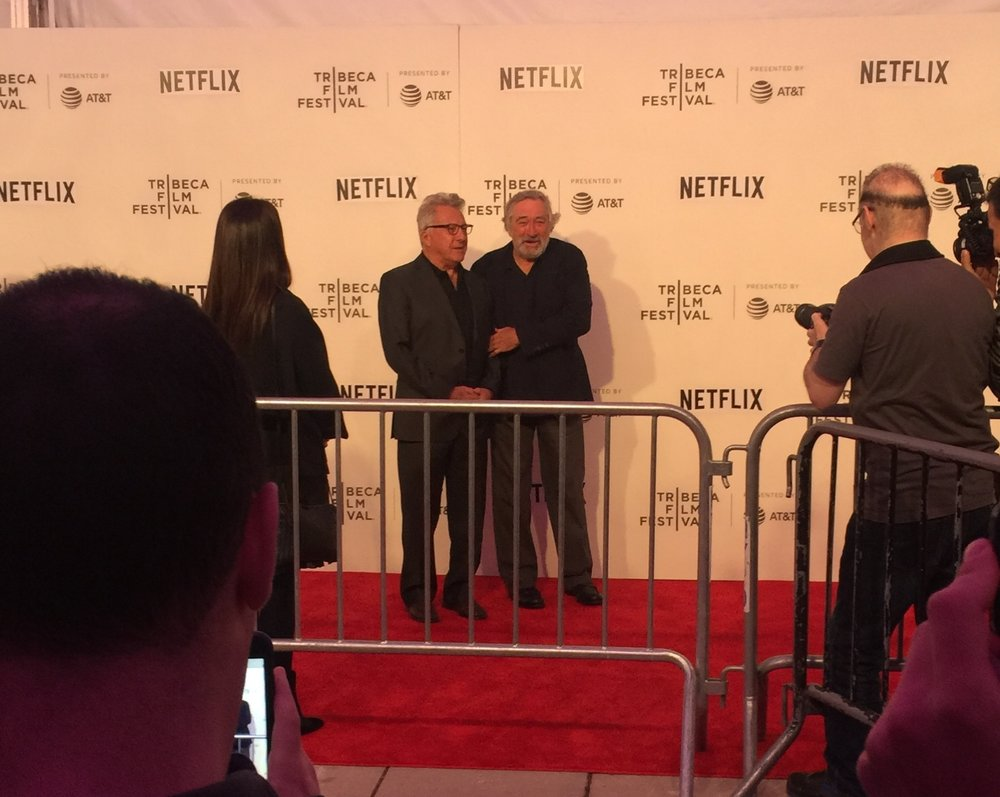 My old boss, Dustin Hoffman on the red carpet with Robert DeNiro