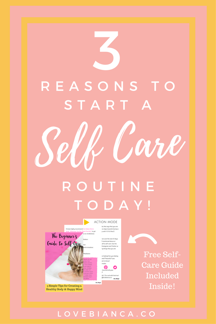 Learn what self-care is (and isn't) and 3 reasons why you need to start a self-care routine today! Plus get a FREE 16-page printable Self Care Guide to start your own self care routine. #selfcare #selfcaretips #selfcareroutine #selcareideas #selfcareworksheets