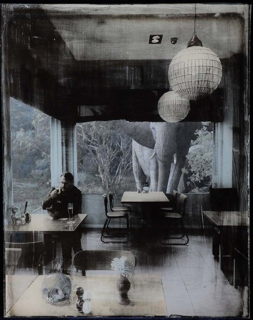 En+attendant+les+bitterballe,+Photographic+emulsion,+paint+and+collage+on+glass,+37,5x29,5cm,+2017.JPG