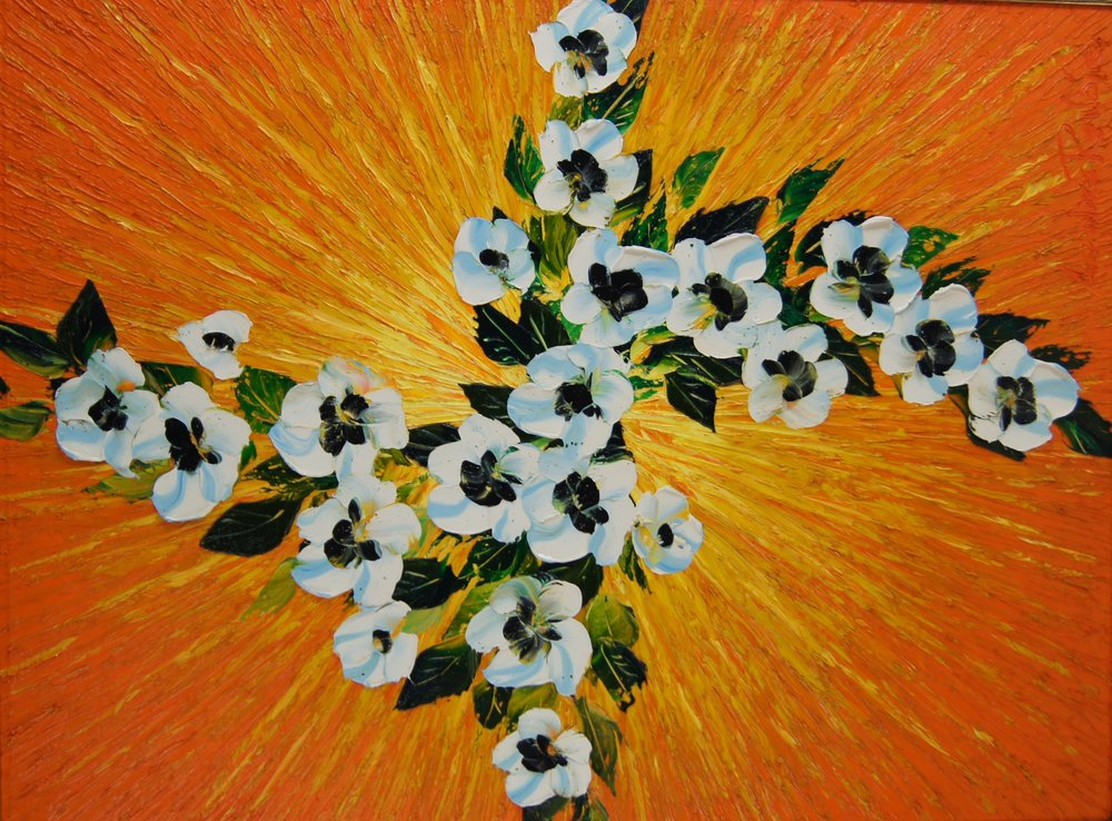 DYNAMIC FLORAL ON YELLOW - 40 x 30 - $22,000.00    FAB price $11,000.00
