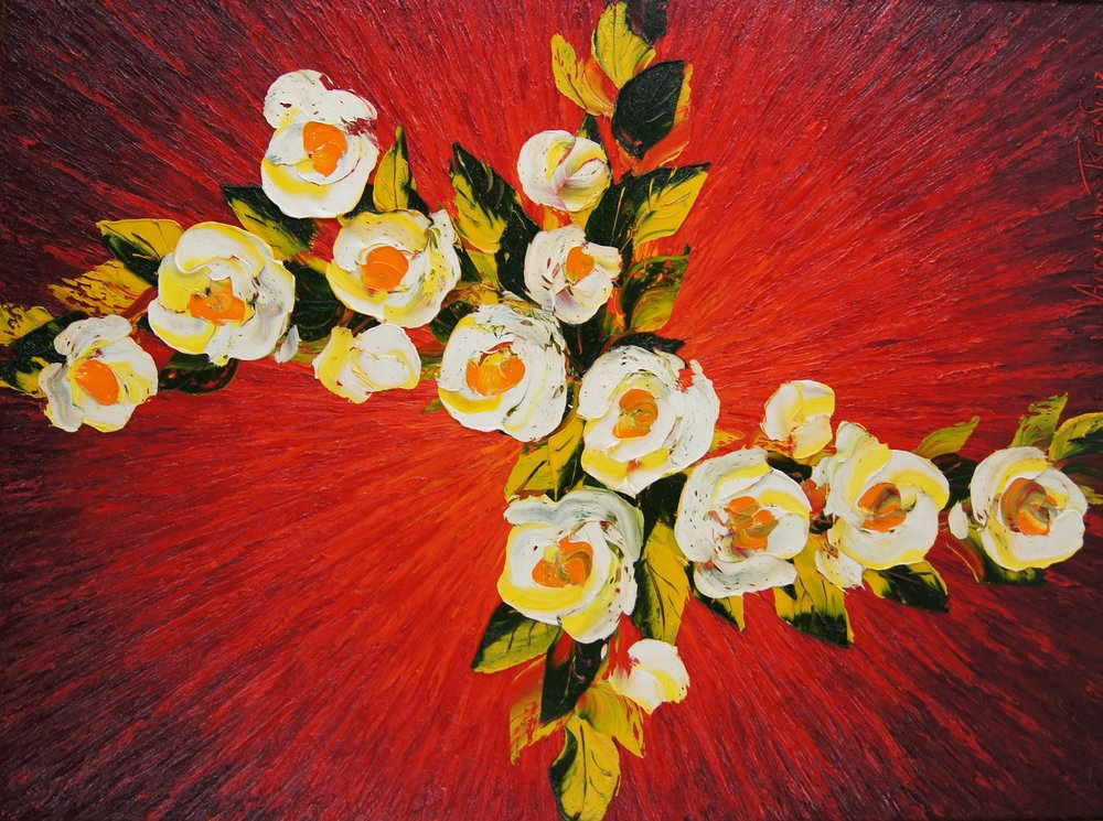 DYNAMIC FLORAL ON RED - 40 x 30 - $22,000.00    FAB price $11,000.00