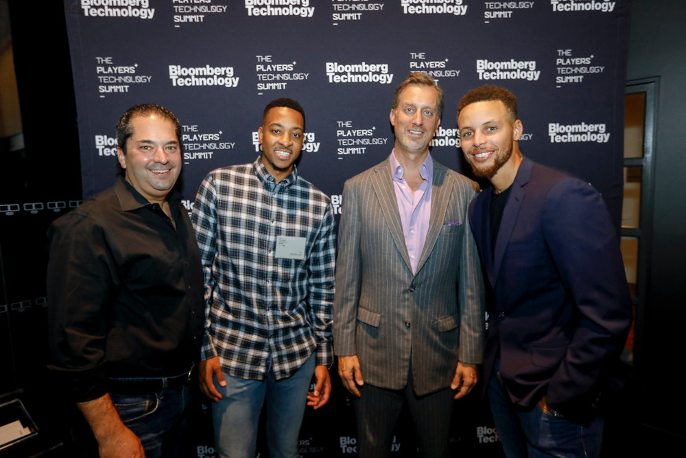 Wayne Kimmel, CJ McCollum, Cory Johnson and Stephen Curry Bloomberg Players Tech Summit