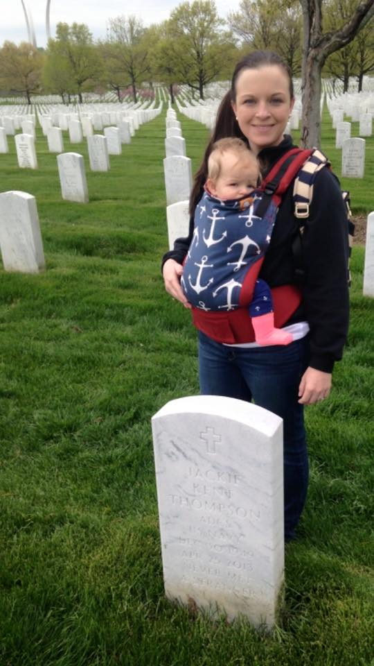 Caroline & I visiting Pop-Pop at Arlington National Cemetery, April 2015.