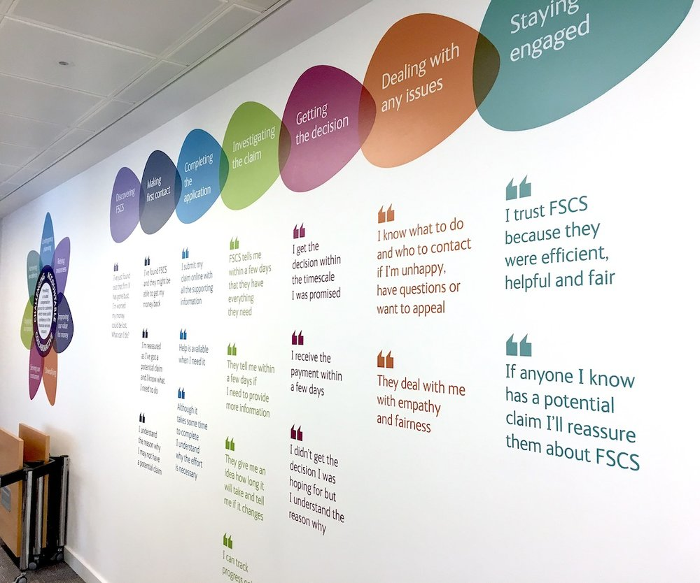 Brand values on wall with relatable quotes - great idea!