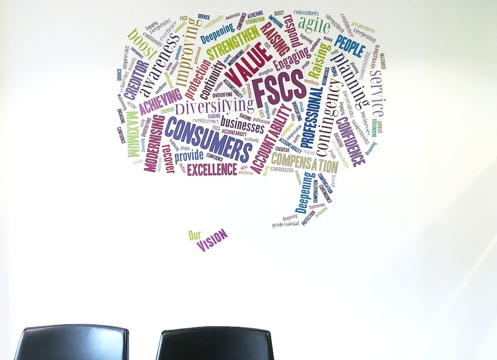 Company vision in a meeting room