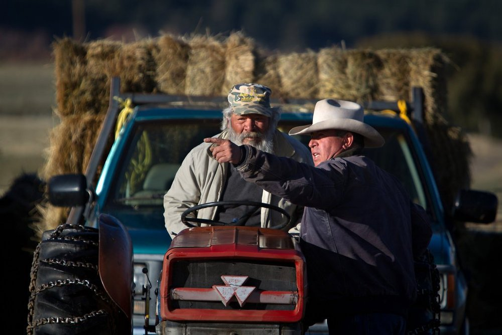 Antonio Manzanares, right, and a helper, Ubaldo Lasalle, transport bales of hay around the Shepherd's Lamb ranch in New Mexico to feed a flock of about 900 ewes.   Credit: Mark Holm for The New York Times