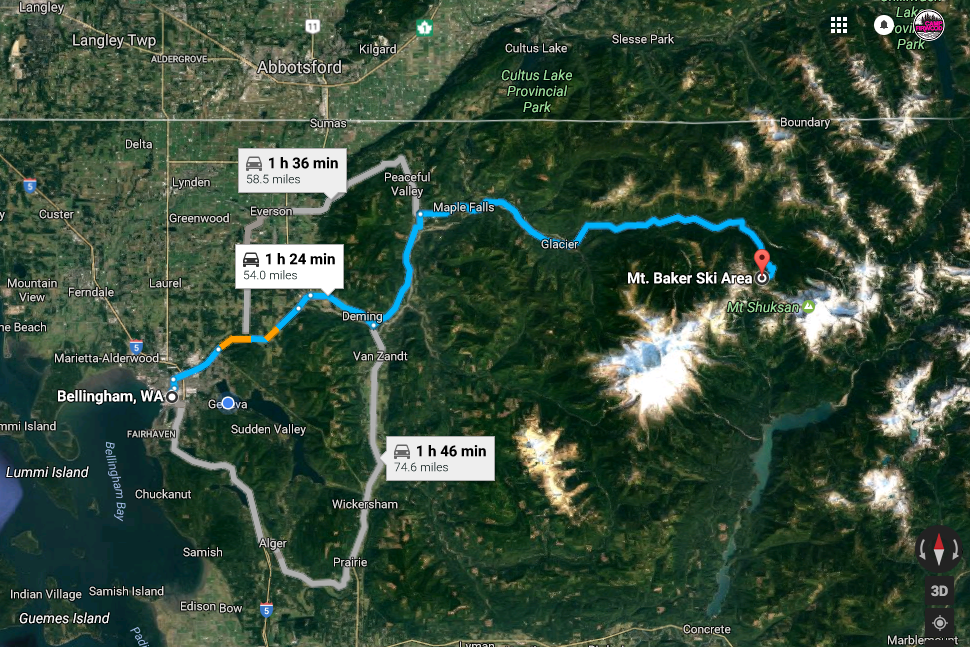 Drive times may vary depending on weather and traffic. This map shows the distance and direction from Bellingham WA to The Chalet at Mt. Baker. Click on the map to be taken to Google Maps where you can adjust your travel plan based on the location you are traveling from.