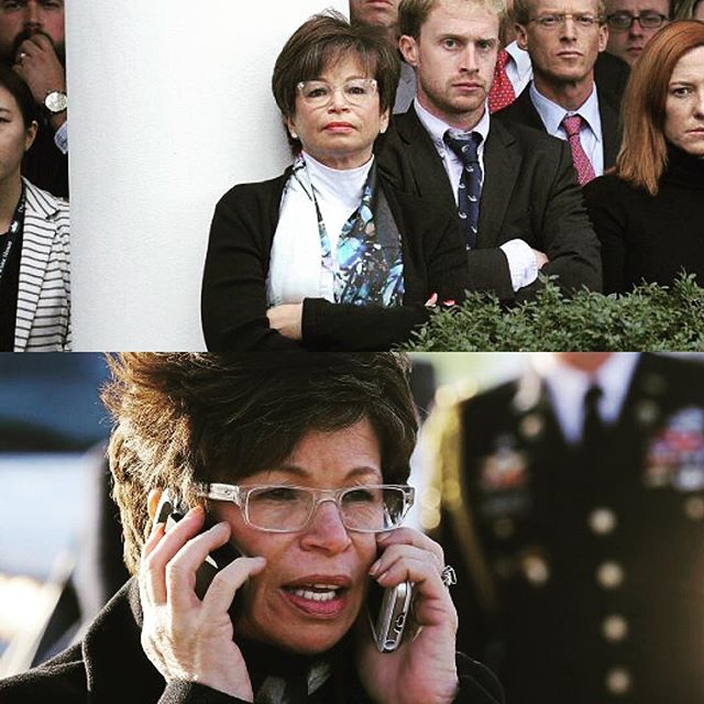 Mood today: Valerie Jarrett.  Mood tomorrow: Valerie Jarrett.  Let's f-ing get to work.  #pantsuitnation