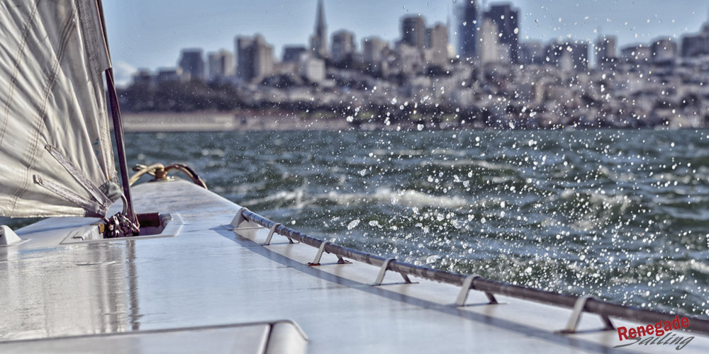 San Francisco city front from aboard America's Cup yacht USA 76.