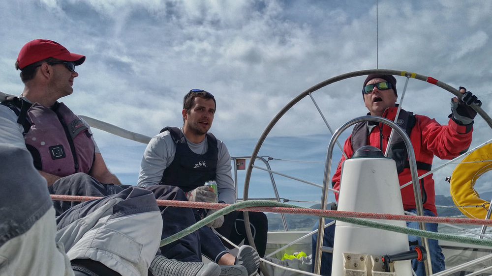 "Crew of ""JuJu"" on San Francisco Bay. Practice just may bring us closer to perfect."