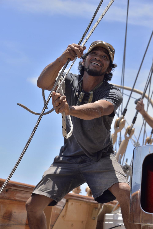 Onboard Schooner  Eros  during practice day.